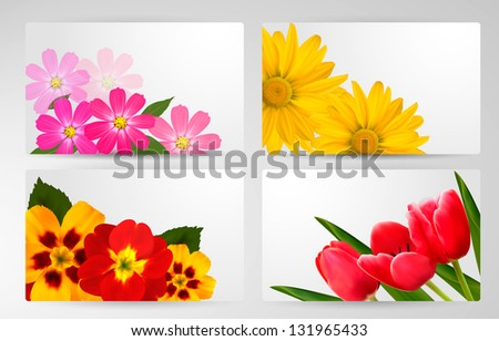 Set of banners with different colorful flower.Raster version.