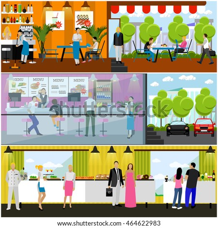 Set of banners with restaurant interiors. Smorgasbord party. Fast food restaurant and street cafe in flat design