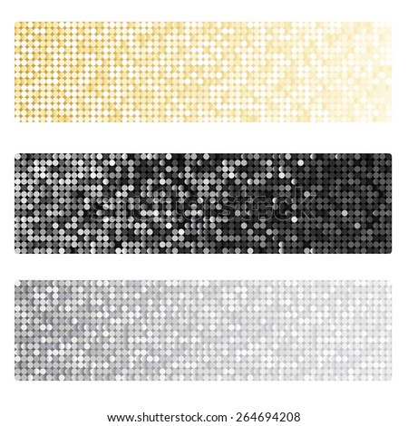 Set of banners with shiny metallic paillettes. Silver, golden, black background - stock photo