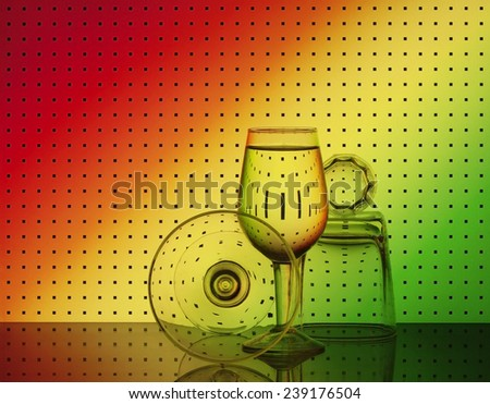Set of bar glassware with attractive graphic abstract background. - stock photo