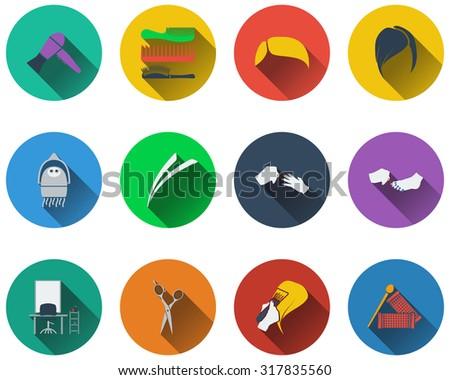 Set of barber icons in flat design. Raster illustration. - stock photo