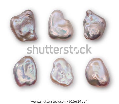 Set of baroque pearls close-up isolated on white background
