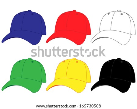 Set of Baseball Caps in Different Colours Blue Red White Green Yellow Black
