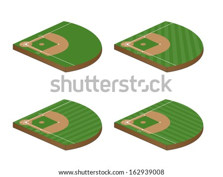 Set of Baseball Fields 3D Perspective 2 - stock photo