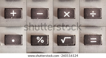 Set of basic math operations, buttons from an old calculator.  - stock photo