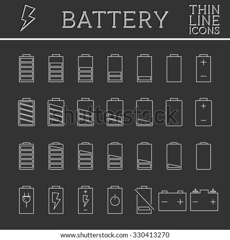 Set of battery charge level indicators. Trendy thin line, outline design. Can be used as buttons, elements in infographics, icons, logo. illustration.