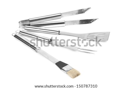 Set of BBQ tools. Isolated on a white background. - stock photo
