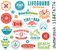 Set of beach and ocean style badges and emblems - stock photo