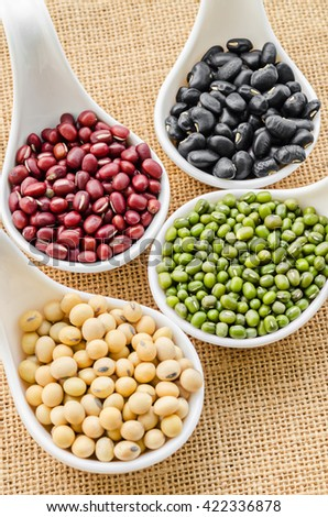 Set of beans, Mung bean, Soy or yellow bean, Azuki or red bean and black bean in white spoon on sack background. - stock photo