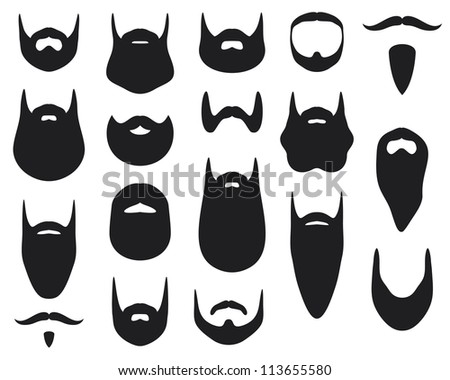 set of beard silhouettes (beard collection) - stock photo