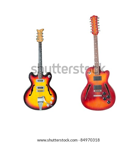 Set of Beautiful antique electric guitar isolated on white background
