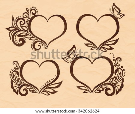 Set of beautiful black-and-white symbol of a heart with floral design and butterfly. Perfect for background greeting cards and invitations to the day of the wedding, birthday, Valentine's Day - stock photo