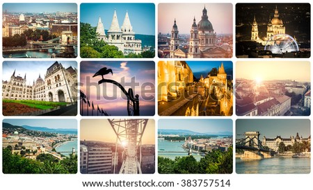 set of beautiful buildings and sights of Budapest - stock photo