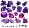 set of beautiful crystals and gems isolated - stock vector