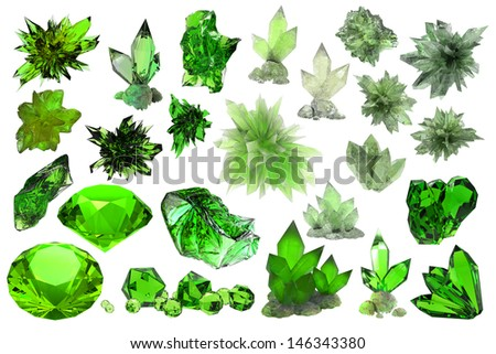 set of beautiful crystals and gems isolated