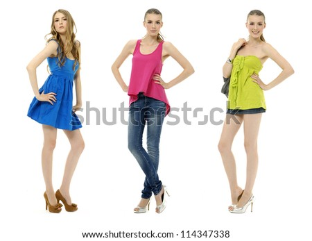 Set of beautiful girls in colorful dress collection,