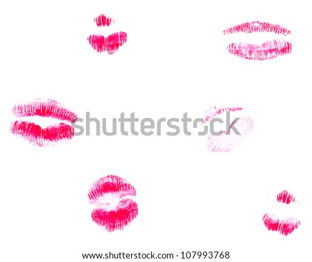 set of beautiful lips isolated on white - stock photo
