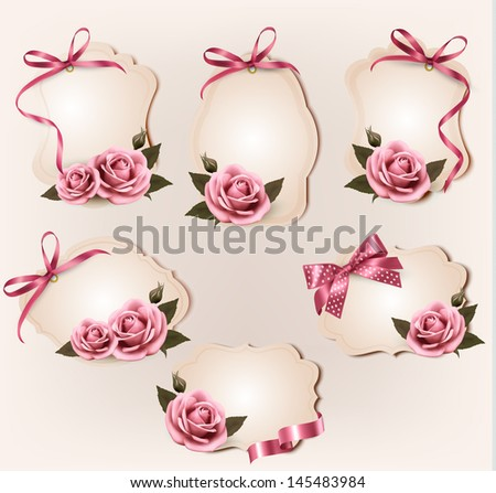 Set of beautiful retro labels with pink rose and gift bows. Raster version of vector - stock photo