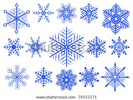 Set  of 15 beautiful snowflakes. Similar image in vector format  in my portfolio.