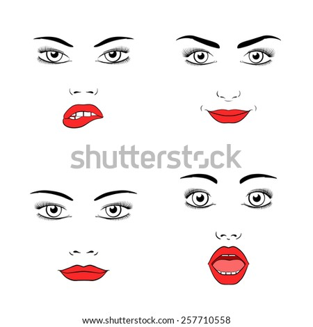 Set of beautiful woman face silhouette. Emotions and joy, surprise and anger.  - stock photo