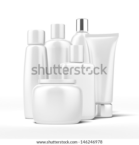 Set of beauty hygiene containers - stock photo