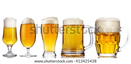 set of beer glass on a white background - stock photo