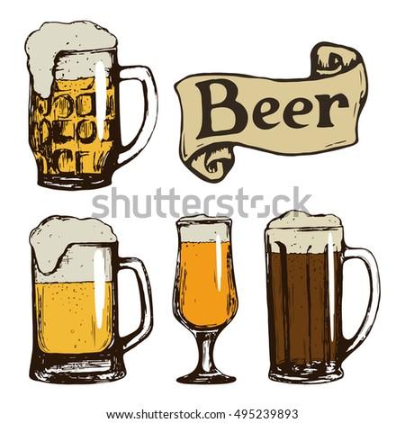 set beer glasses hand drawn vintage stock illustration 495239893