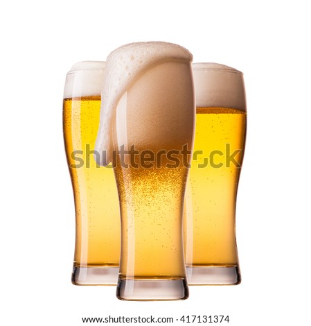 set of beer glasses isolated on white