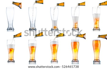 Set of beer pouring from bottle into glass isolated on white background
