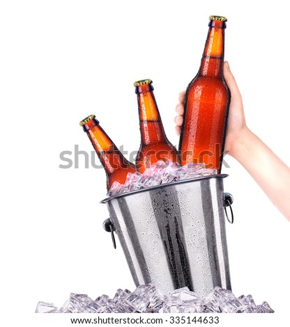 Set of beer's bottles with frosty drops in ice isolated on white background