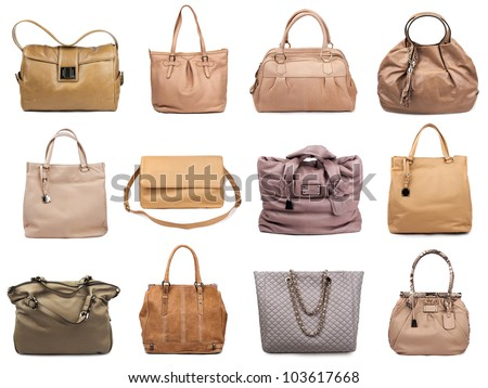 Set of beige female bags on a white background.12 pieces. - stock photo