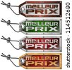 Set of Best Price Tag in French - 4 Items / Grunge tags with steel cable and written best price in French language - stock photo