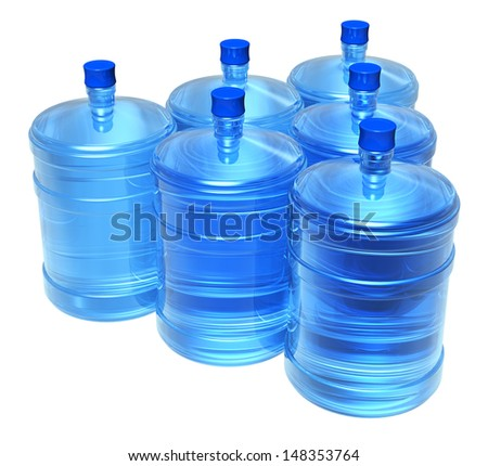 Set of big bottles of clear purified water for cooler isolated on white background - stock photo