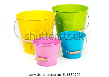 set of biglittle empty ironmetal buckets pails containers with handle