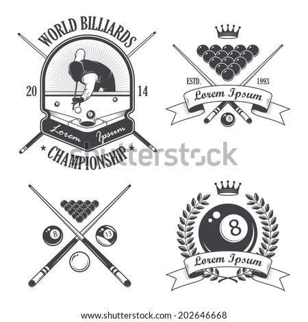 Set of billiards emblems labels and designed elements - stock photo
