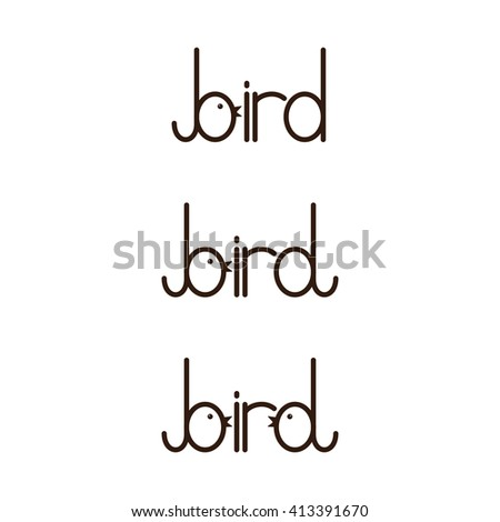 Set of bird lettering with letter b and stylized b isolated on white background. Logo template. Design element - stock photo