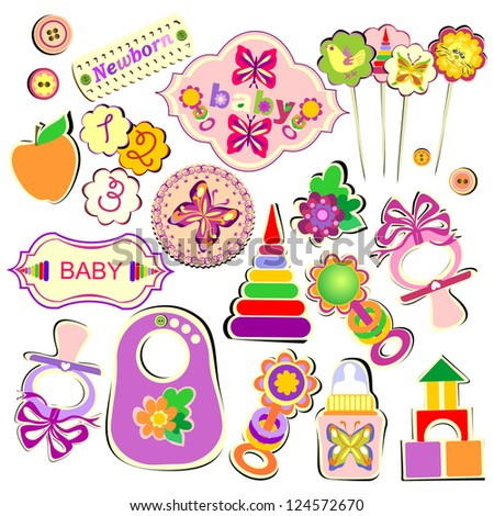 Set of Birthday Accessories and Toys for Babies, Raster Version - stock photo