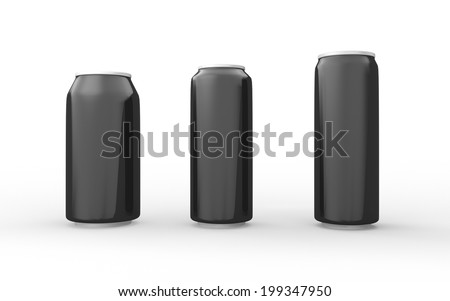 Set of black aluminum cans isolated on white with clipping path, packaging for  soft drink, juice, water and beverage  - stock photo