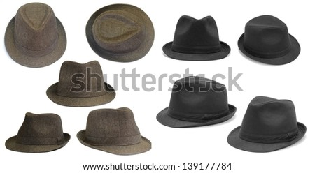 Set of black and brown hats - stock photo