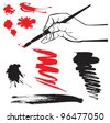 set of black and red blots and hand with brush on the white background. Raster version - stock vector