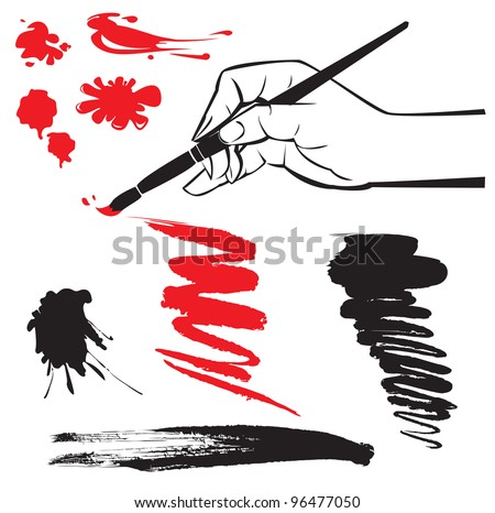 set of black and red blots and hand with brush on the white background. Raster version - stock photo