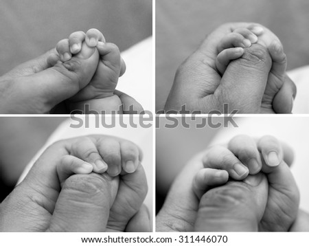 Set of Black and White Baby hand and  father hand - stock photo