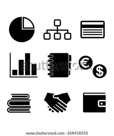 Set of black and white business icons including a pie and bar graph, currency symbols, handshale, flow charts amd books - stock photo