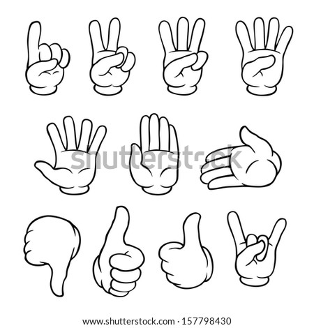 Set of black and white cartoon hands showing various gestures. - stock photo