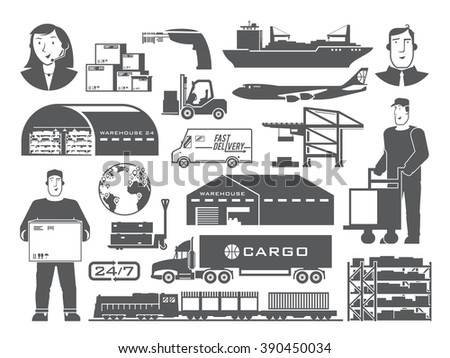 Set of black and white elements on the theme of Logistics, Warehouse, Freight, Cargo Transportation. Storage of goods, Insurance. Modern flat design.