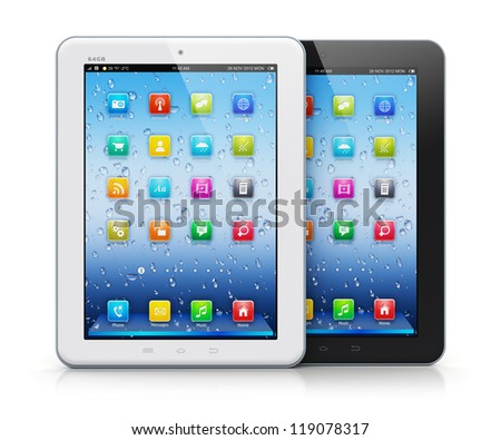 Set of black and white glossy tablet PC mobile computers with colorful icon interface isolated on white background with reflection effect
