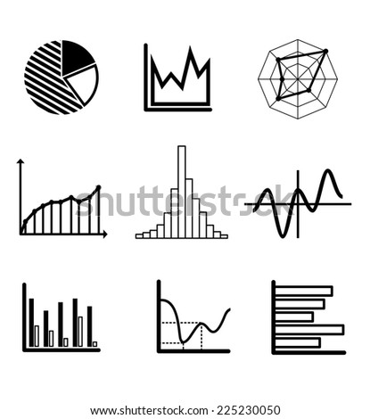 Set of black and white graphs and charts including a pie graph, bar graphs, fluctuating charts and infographics for business design - stock photo