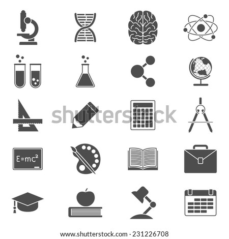 set of black and white silhouette icons on school, science, study, education and knowledge theme - stock photo