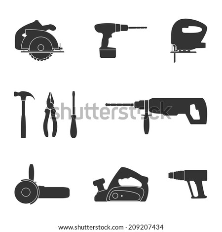 set of black and white silhouette web icons of tools screwdriver, fret saw, circular saw, drill, angle grinder, industrial fan, jack, hummer and pliers - stock photo