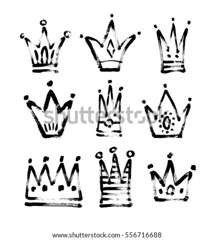 set of 9 black and white sketch drawing princess and the king crown with paint grungy texture, raster version illustration icons collection